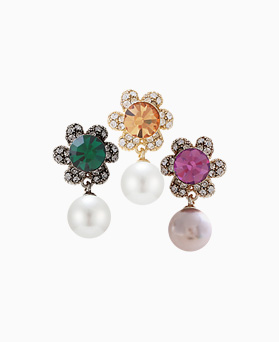 1046264 - <ER1442_CG15> [clip type] Arista Flower pearl earrings