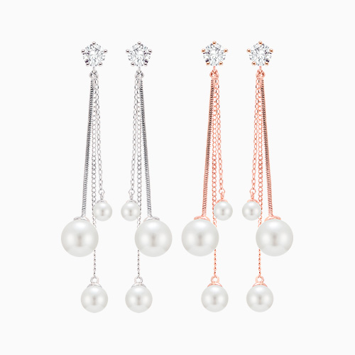 1046286 - <ER1481_CC20> [Silver Post] triple chain pearl earrings