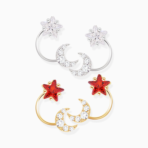 1046288 - <ER1472_CE12> [Silver Post] angel star Ann moon earrings