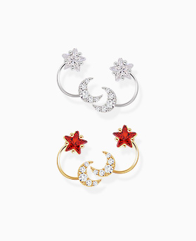 1046288 - <ER1472_CE12> [Silver Post] angel star Ann moon earrings