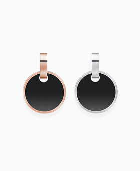1046293 - <ER1477_DI09> [Stainless steel] Alvin round onyx earrings