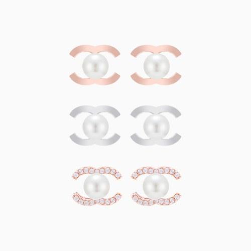 1046295 - <ER1483_BD00> [Silver] pearl eye earrings
