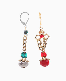 1046331 - <ER1488_DH02> [clip type] cross Ann crystal Unbalanced earrings