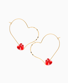 1046346 - <ER1417_DK20> heart Ann Red crystal earrings