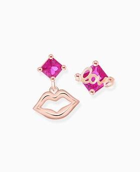 1046347 - <ER1423_DL21> [Silver Post] love Ann lips earrings