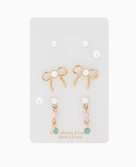 1046355 - <ER1508_CD05> [8Piece 1set] girls ribbon earrings