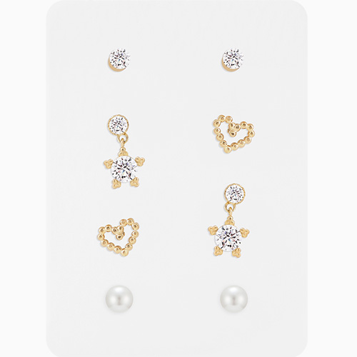 1046362 - <ER1418_CH14> [8Piece 1set] star Ann heart series earrings