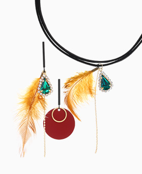 1046365 - <JS31_IH05> [earrings + necklace] [Silver Post] Minerva feather set