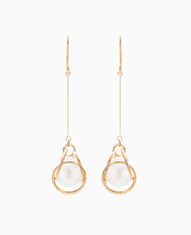 1046370 - <ER1506_DA06> [spring] mirror pearl drop earrings