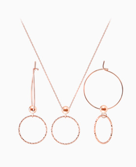 1046379 - <JS32_BD00> [necklace + earrings] [Silver] allegro ring set