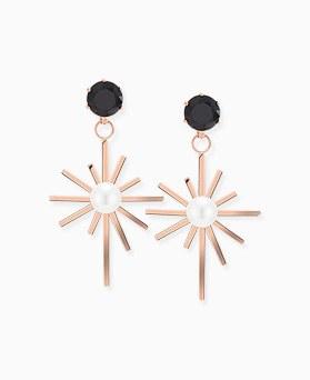 1046382 - <ER1487_CE20> [clip type] [stainless steel] black sparkle earrings