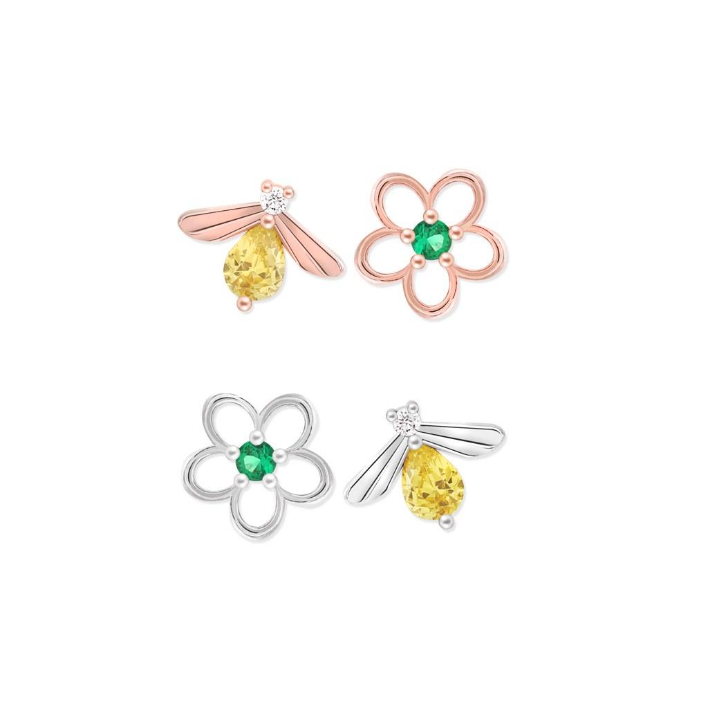 1046386 - <ER1424_BE08> [Silver] Bee Ann Flower Flower Earrings