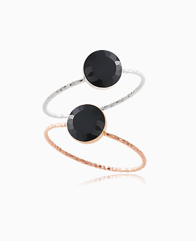 1046389 - <RI753_AG08> [Silver] onyx gemstone ring