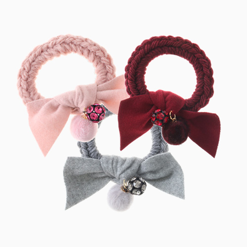 1046393 - <HA549_FG04> mirror ball Ann woolen yarn ball ponytail