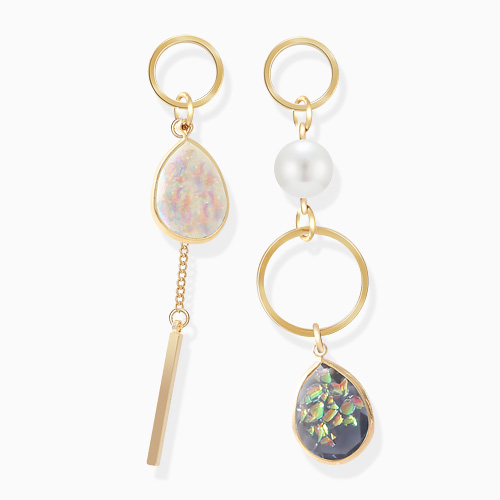 1046394 - <ER1417_DE22> [Silver Post] Unbalanced Fantastic gemstone earrings