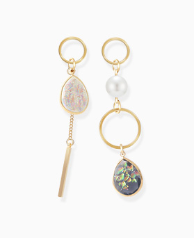 1046394 - <ER1417_DE22> [Silver Post] Unbalanced Fantastic gemstone earrings