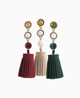 1046397 - <ER1423_CF07> suede tassel earrings