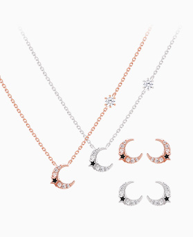 1046412 - <JS32_IG10> [necklace + earrings] minimal moon set