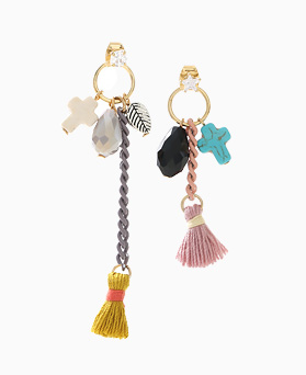 1046414 - <ER1445_CG19> sweety tassel Ann cross earrings