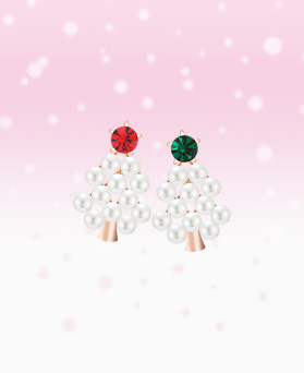 1046422 - <ER1437_DI14> Mini pearl tree earrings