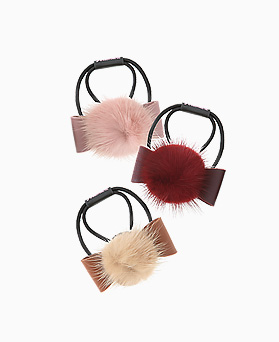 1046431 - <HA552_FG06> mink leather ribbon ponytail