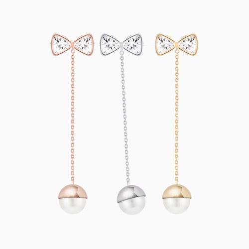 1046433 - <ER1444_CH07> [MBC] [Silver Post] ribbon long pearl earrings