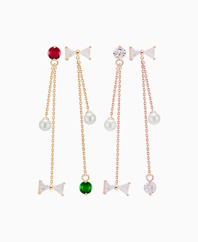 1046450 - <ER1447_DD09> [Silver Post] with ribbon unbalanced earrings