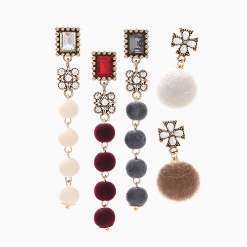 1046454 - <ER1522_CH05> unbalance foaming ball drop earrings