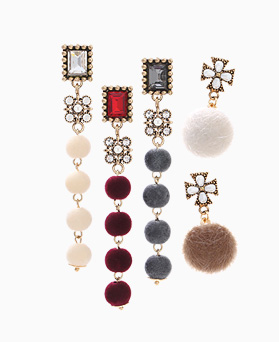 1046454 - <ER1522_CH05> unbalance foaming ball drop earrings