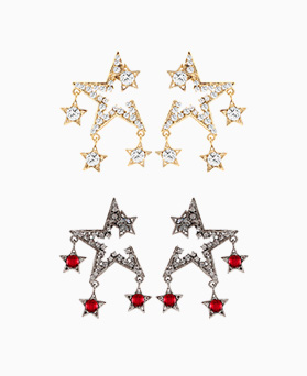 1046459 - <ER1523_CH05> [Silver Post] sparky antique star earrings