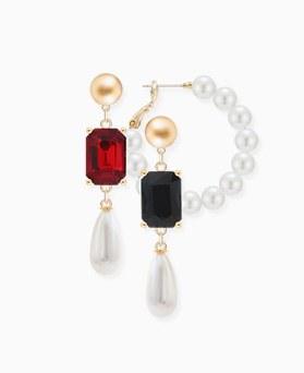 1046460 - <ER1524_CC05> [Silver Post] Unbalanced Victoria pearl earrings