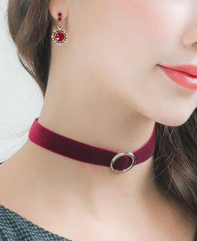 1046463 - <NE462_BA07> metal point Velvet choker necklace