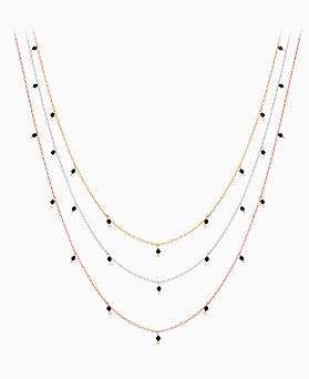 1046465 - <NE460_BE07> [Silver] onyx spot necklace
