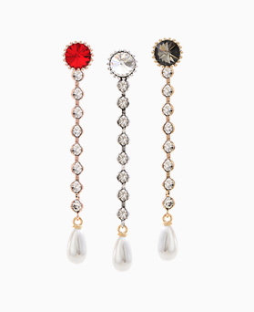 1046466 - <ER1535_CA07> [Silver Post] Benefit cubic long earrings