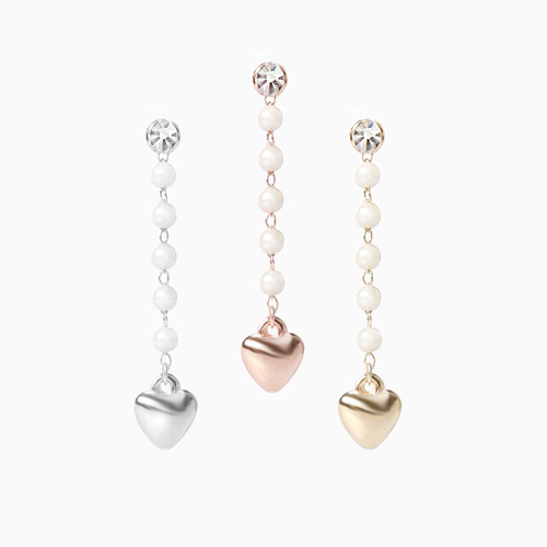 1046500 - <ER1544_DJ04> [Silver Post] Darren pearl heart earrings