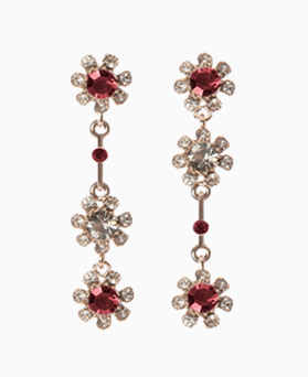 1046507 - <ER1548_ID05> [Silver Post] Luis Flower cubic earrings