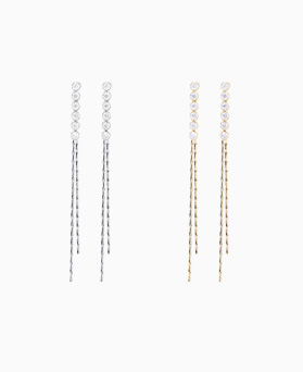 1046531 - <ER1558_GD01> [Silver Post] long earrings