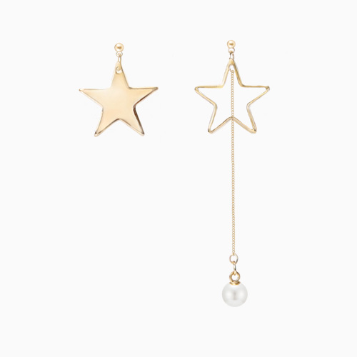 1046537 - <ER1536_DF13> [clip type] Marginal Unbalanced star earrings