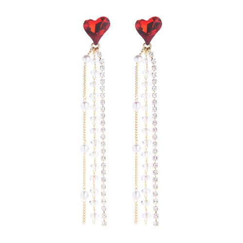 1046550 - <ER1564_CG05> Silver Post-Ricky Heart earrings