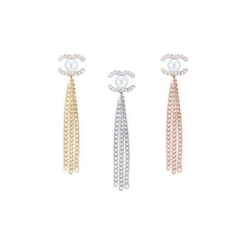 1046666 - <ER1567_BH05> [Silver] Coco chain long earrings