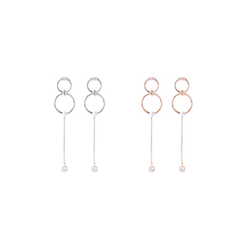 1046670 - <ER1571_GG04> [Silver Post] Wesley round earrings
