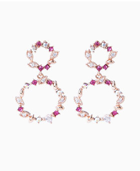 1046672 - <ER1572_GC03> [Silver Post] nacia cubic round earrings