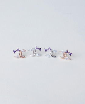 1046678 - <ER1576_GF06> [MBC] [Silver Post] Freddy ribbon earrings