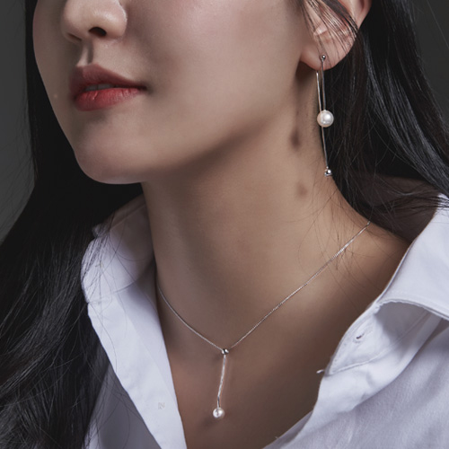 1046684 - <JS56_BE00> [necklace + earrings] [Silver] pearl set