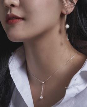1046684 - <JS56_BE00> [necklace + earrings] [Silver] Letta pearl set