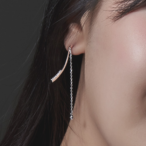 1046685 - <ER1586_CA21> [Silver Post] spirale cubic earrings