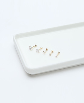 1046703 - <ER1592_GH17> [10K Gold] Mina simple cubic piercing