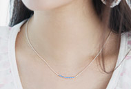 222867 - <SL095-BD07> [Silver] stick wave necklace