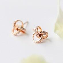 223094 - <SL058-BD07> [Silver] Third Circle ring earrings