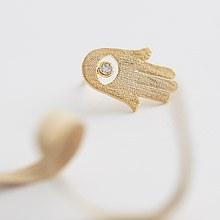 223611 - <SL175-BD07> [Silver] hamsa mudra earrings